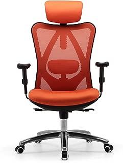 Sihoo Ergonomic Office Chair, Computer Desk Chair, Adjustable Headrest, Backrest, and Armrests, Lower-Back Support, Mesh (Orange)