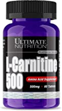 Ultimate Nutrition L-Carnitine Fat Burning Amino Acid Supplement - Promotes Mood, Cognitive Function, and Memory - Increases Endurance and Boosts Recovery (60 Tablets - 500mg)