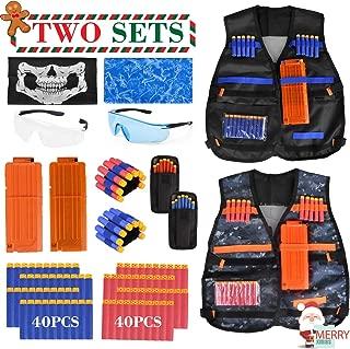 Kids Tactical Vest, 92 Pieces 2 Team Sets Adjustable Tactical Vest for Nerf Guns N-Strike Elite Series with Refill Bullets, Tactical Vests, Reload Clips, Face Masks, Wrist Bands, Glasses for Grouping