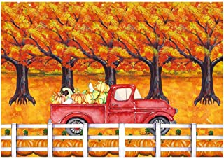 Funnytree 7x5ft Autumn Pumpkins Theme Party Backdrop Fall Harvest Cartoon Truck Photography Background Thanksgiving Forest Maple Tree Baby Shower Birthday Cake Table Decoration Banner Photo Booth