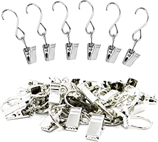 HSIULMY Outdoor Lighting Hooks,30 Pack Stainless Steel Party Light Hangers Hooks with Clips for Outdoor Activities Wire Holder S Hook Hanging
