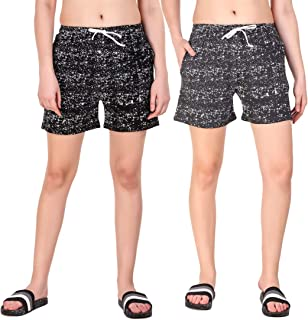 KIBA RETAIL Casual wear Summer wear Comfortable Printed Shorts for Women Cotton Fabric