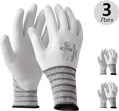 T4U Oil Resistant Work Gloves for Women and Men 3 Pairs - Anti-Slip Coating