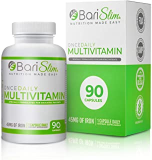 BariSlim Once Daily Bariatric Multivitamin Capsule - 45 mg of Iron - Bariatric Vitamin and Supplement for Post Bariatric Surgery Including Gastric Bypass and Gastric Sleeve - 3 Month Supply - 90 Count