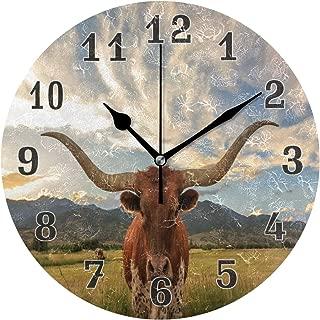 Linomo Vintage Texas Longhorn Steer Cattle Wall Clock Decor, Silent Non Ticking Round Clock Quiet for Kitchen Living Room Bedroom Bathroom Office