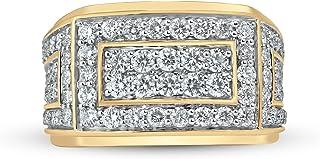 Jewelili 10K Gold 2 Cttw Natural White Round Cut Diamond Men's Wedding Band Ring, Size 10