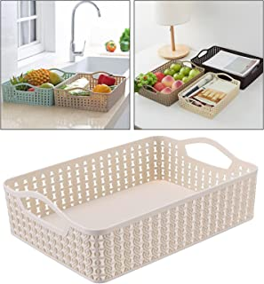 Lot de 2 boîtes de rangement en plastique pour placards de cuisine, réfrigérateur, tiroir, placard - Beige