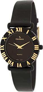 Peugeot Women Midnight Black Watch with Raised Gold Roman Numerals Bezel and Black Strap
