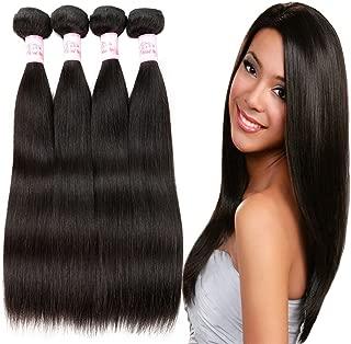 Gluna Hair Brazilian Straight Virgin Hair 4 Bundles Grade 8A 100% Unprocessed Straight Hair Mink Brazilian Human Hair Extensions, (Natural Color 24