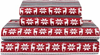Elite Home Products Deep-Pocketed Winter Nights 100% Cotton Flannel Sheet Set, Queen, Deer/Red