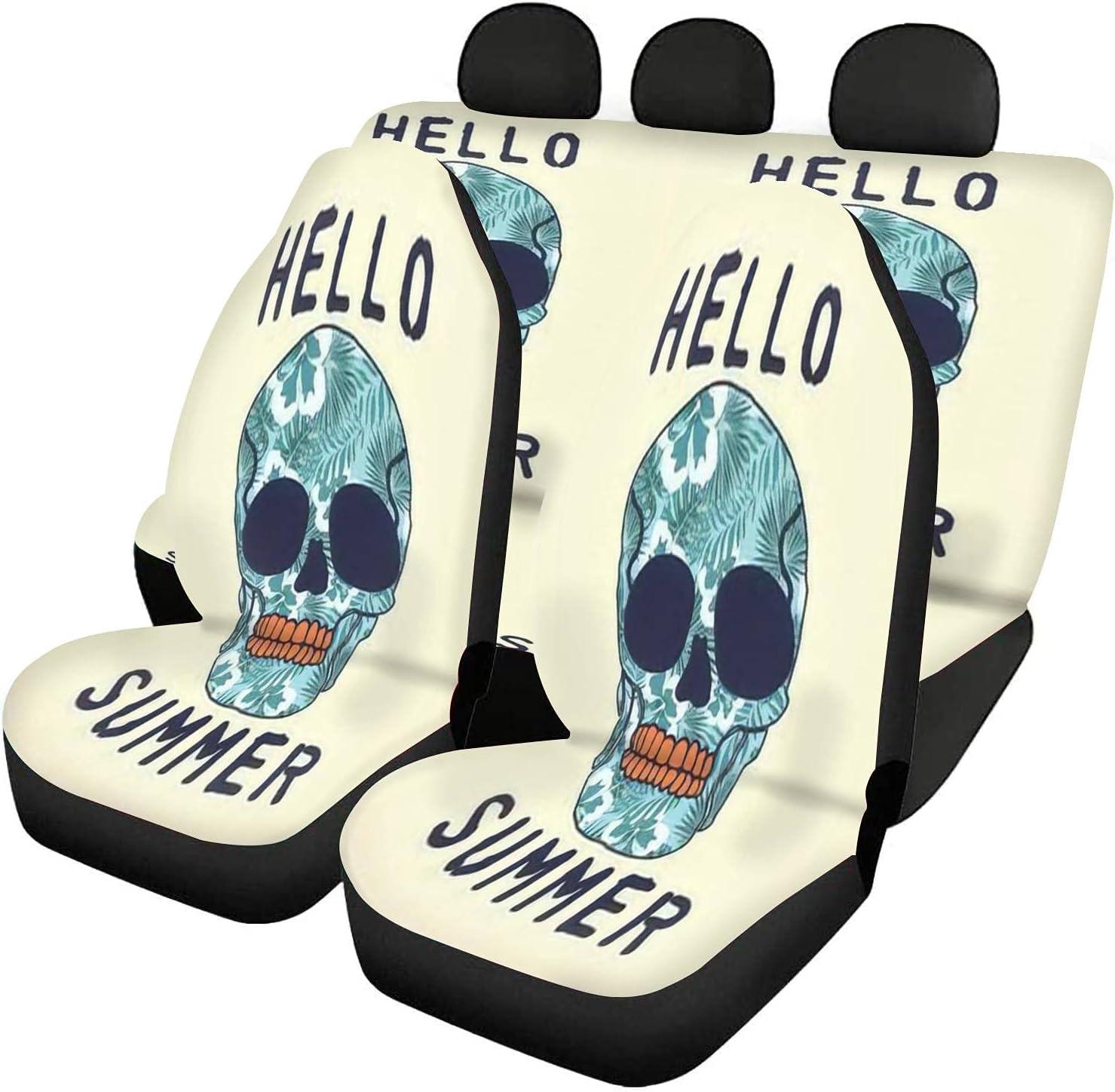 Time sale GDSJEGQM Regular discount Car Seat Covers Full Set - tee Print Skull with Design