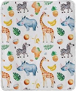 SUABO Soft Blanket Giraffe Rhino Zebra Pineapple Elements Warm Cozy Bed Couch Lightweight Blanket Throw Polyester Microfiber 50