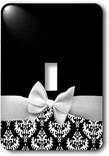3dRose lsp_56659_1 Elegant and Classy Ribbon Bow with White Damask Pattern and Classic Black Background Single Toggle Switch,