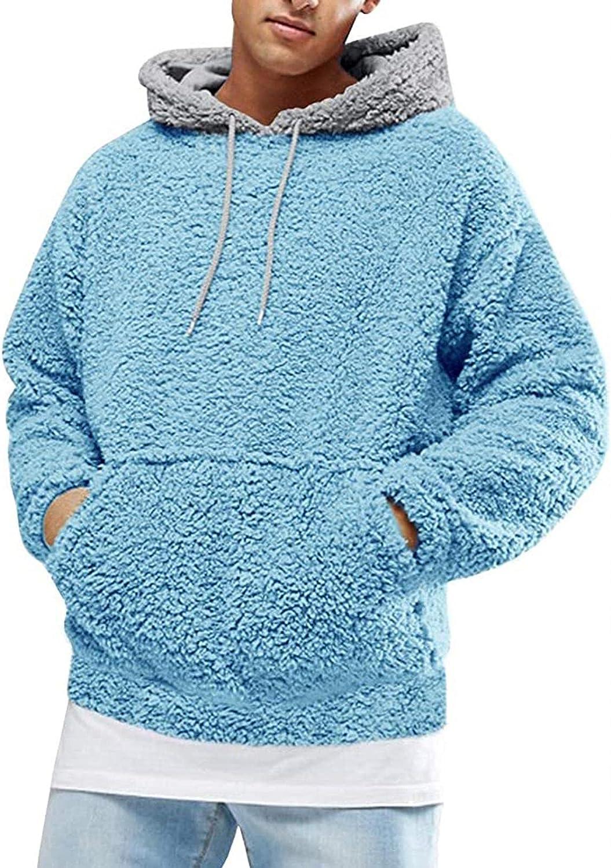 Men Fuzzy Pullover Hoodie Sweatshirt Long Sleeve Outwear Tops Blouse with Pocket Fall Outwear Winter Hooded