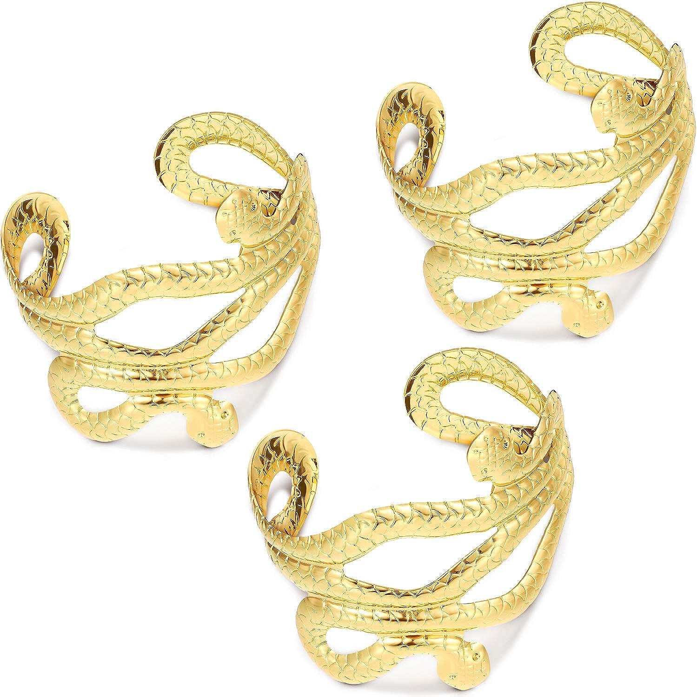 3 Pieces Snake Arm Cuffs Swirl Snake Bracelets for Women Girls Halloween Costume