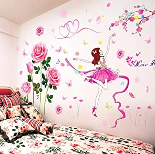 GVGs Shop 1 Pc Female Dancer Cartoon DIY Flowers for Kids Rooms Bedroom Living Room Wall Stickers Lotus Butterfly World Map Decal Princess Kitchen Jeep Decals Primo Popular Mural Art Decor, Type-03