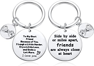 Friendship Gifts for Women, BFF Gifts, Side by Side or Miles Apart Friends are Always Close at Heart Bestfriend Keychain, Birthday Gifts for Best Friend Female Jewelry 2pcs
