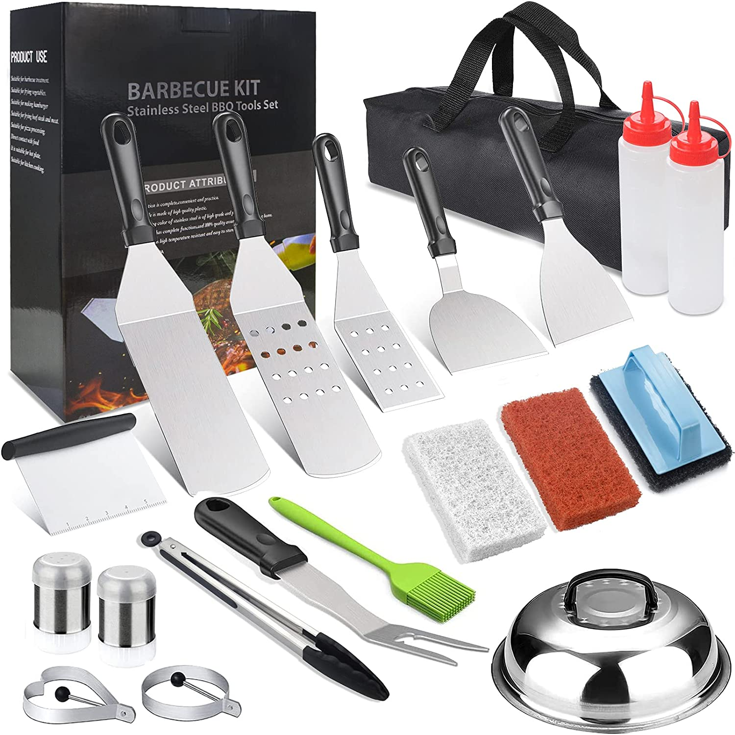 JUSONEY 21 Pcs Griddle Accessories Set Spatula NEW Top Ki Flat Grill Special price for a limited time