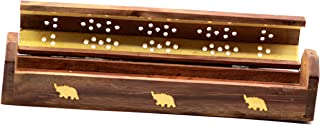 Wooden Coffin Incense Stick Cone Burner Holder Stand with Brass Elephant Inlay and Storage Compartment Ash Catcher - by Crystal Collection (Elephant) (Elephant)
