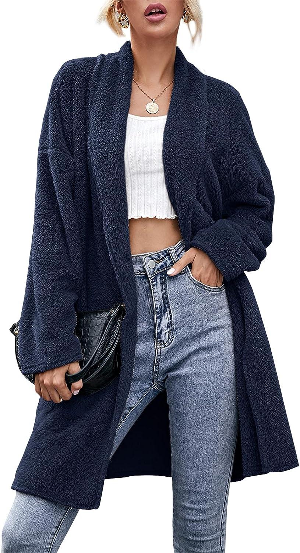Women's Winter Fuzzy Fleece Lapel Long Sleeve Open Front Cardigan Faux Fur Solid Soft Casual Coat