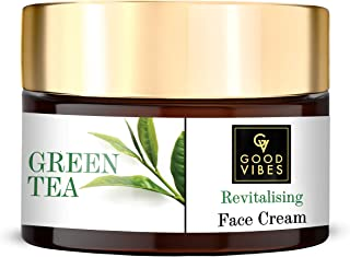 Good Vibes Green Tea Revitalising Face Cream, 50 g Skin Hydrating Soothing Light Weight Formula, Helps Delay Signs of Agei...