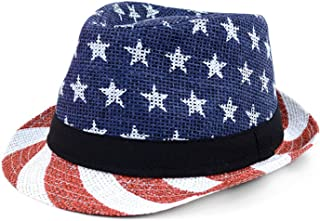 WESTEND Men's Fedora 4th of July Hat with Stars and Stripes Original American Hat with Sizes in S/M/L/XL