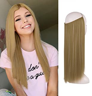 FESHFEN Halo Hair Extensions, Invisible Secret Wire Crown Hair Extensions One Piece Straight Hair Piece Synthetic Hairpiec...