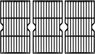 Hongso Porcelain Coated Cast Iron Cooking Grid Replacement Parts for Uniflame GBC1059WE-C, GBC1059WB-C, Backyard Grill BY13-101-001-13 Gas Grill Model, 16 1/4 Inch BBQ Grill Grates, Set of 3 (PCA593)