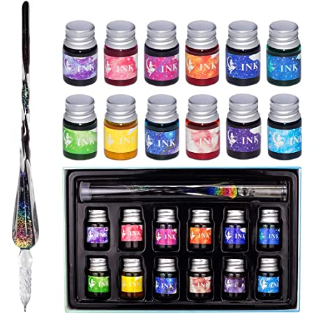 Calligraphy Writing Decoration Gift Ma-13 Signatures Mancola Glass Dipped Pen Ink Set-Rainbow Crystal Pen with 12 Colorful Inks for Art
