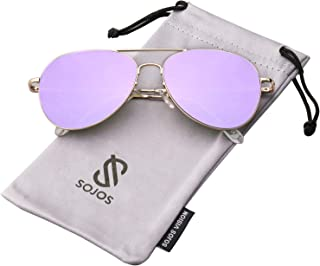 Classic Aviator Mirrored Flat Lens Sunglasses Metal Frame...