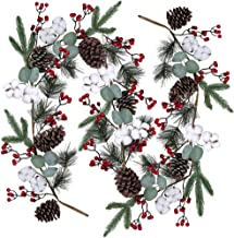 Artificial Christmas Pine Garland with Berries Pinecones Spruce Eucalyptus Leaves Cotton Balls Winter Greenery Garland for...
