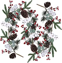 Artificial Christmas Pine Garland with Berries Pinecones Spruce Eucalyptus Leaves Cotton Balls Winter Greenery Garland for Holiday Season Mantel Fireplace Table Runner Centerpiece Décor 6 feet