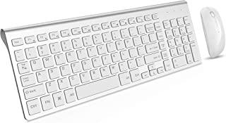 Wireless Keyboard and Mouse Combo, Gamcatz Cordless Ergonomic Ultra Thin Full Size Keyboard with Number Pad and Rechargeable Slient Click Mouse for PC, Laptop, Desktop, Windows, Mac OS(Silver White)