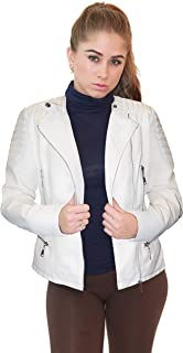 Olivia Miller Womens Faux Leather Moto Biker Jacket with Pockets