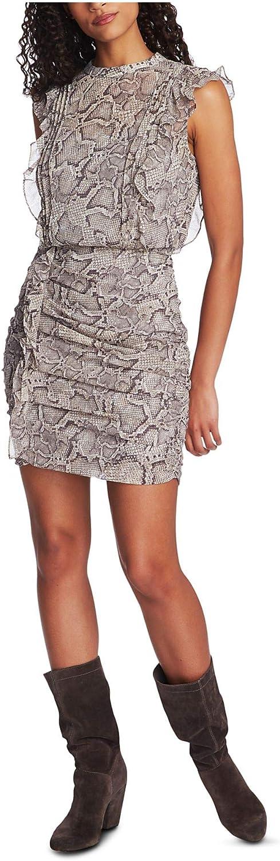 1. STATE Womens Gray Ruched Animal Print Cap Sleeve Jewel Neck Mini Sheath Cocktail Dress Size 10