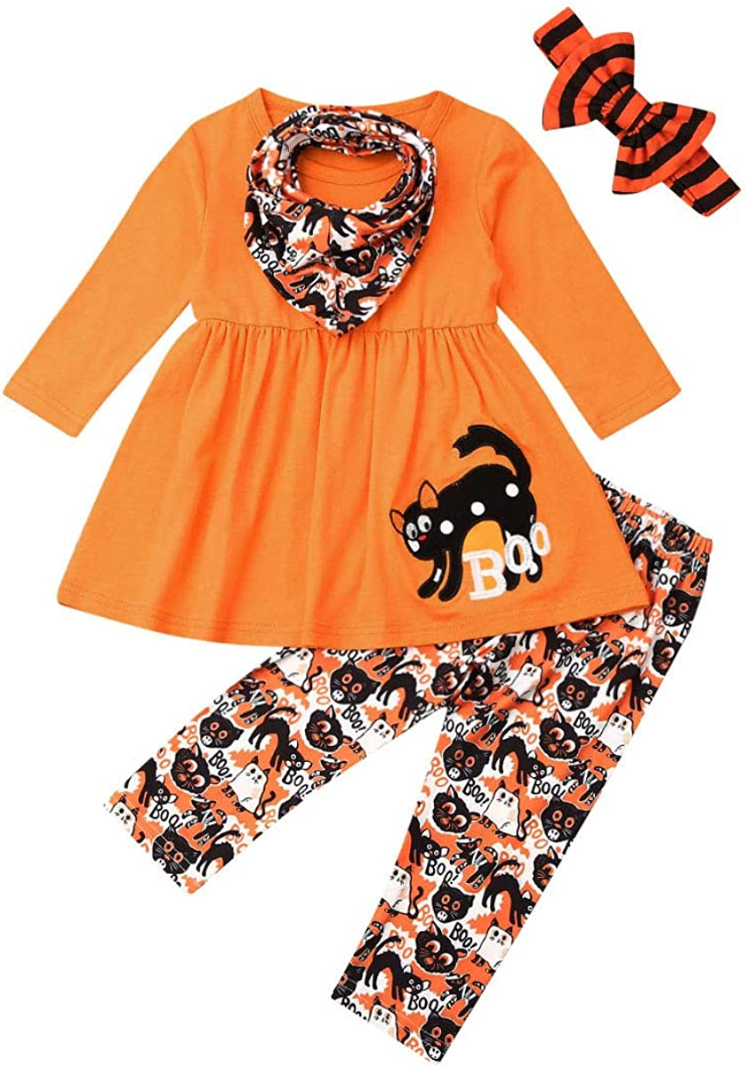 Toddler Baby Girls Clothes Halloween Ghost/Skull Long Sleeve Top Dress + Pumpkin Legging Pants Trousers Set Outfits