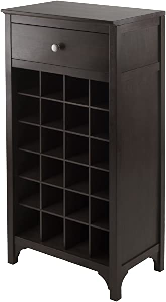Winsome Ancona Modular 24 Bottle Wine Cabinet With Drawer 19 09W X 12 6D X 37 52H Inches Dark Espresso