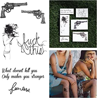 Tattify Guns And Quote Temporary Tattoos - Battle Cry (Complete Set of 12 Tattoos - 2 of each Style) - Individual Styles Available - Fashionable Temporary Tattoos