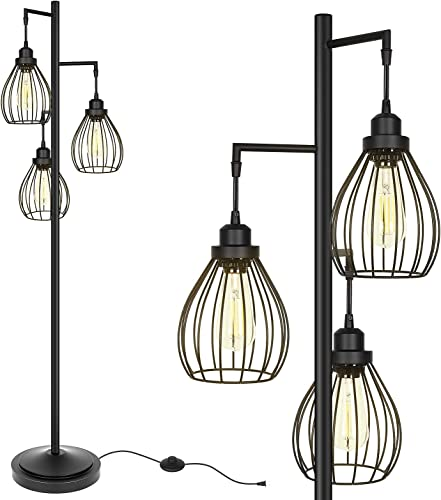 popular Hykolity Industrial Teardrop Cage Floor Lamp, Farmhouse Rustic Standing Lamp for Living Room, online Bedroom, Guest Room, Office, Standing Tree Lamp online sale with 3 Elegant Cage Heads, Bulb Sold Separately sale