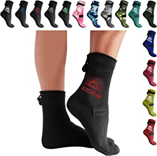 Low Cut 'Soft Skin' Water Socks or High Cut 'Storm' Water Socks (3mm Neoprene Glued & Blind-Stitched with Fit Adjustment Straps) - Perfect for Water, Sand, Beach Activities, and Also for Diving