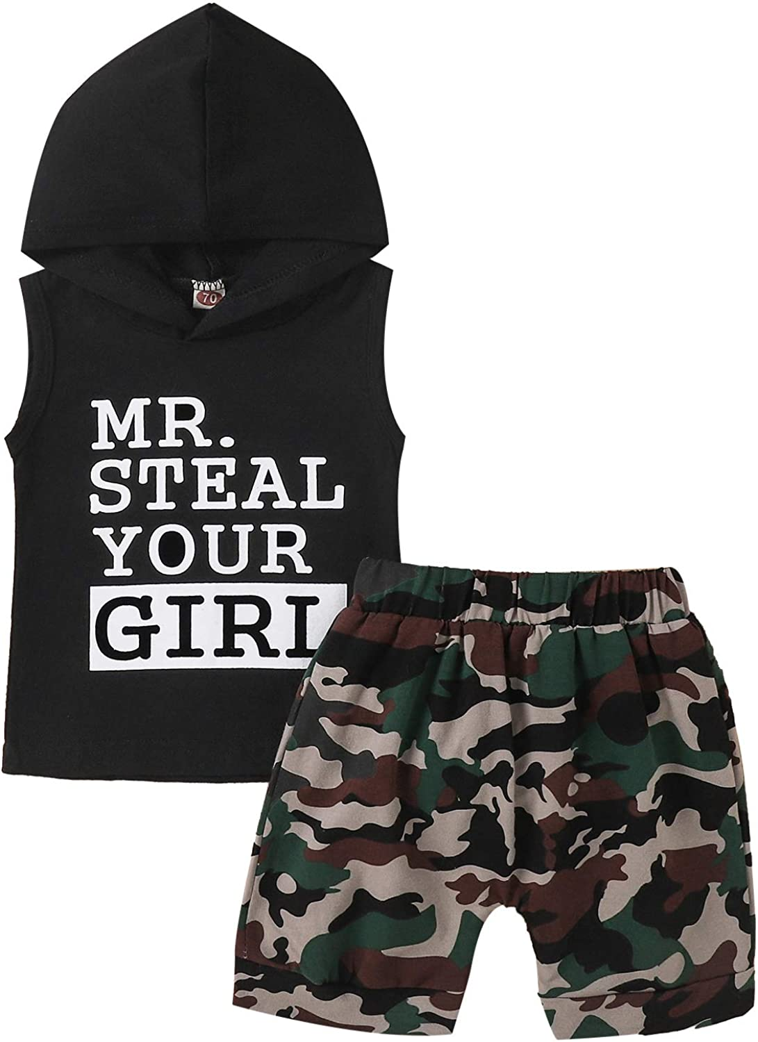 KnniMorning TEES Boy's 2Pcs Sleeveless Clothes Set Letter Printing Hooded Top Camouflage Shorts Toddler Boy Summer Suit