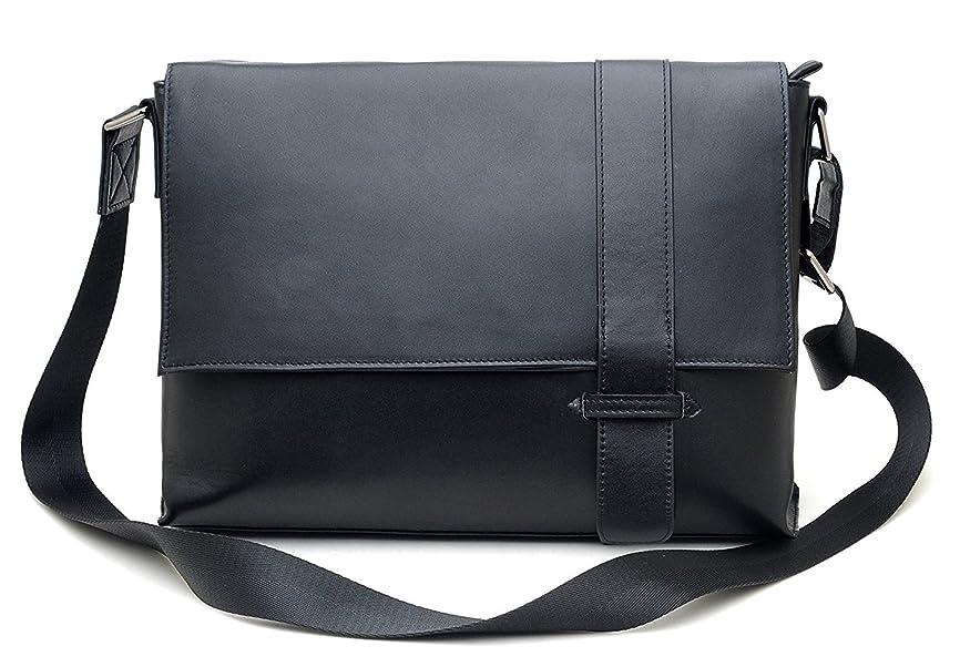 配るのみビジョンショルダーバッグ メンズ 本革 レザー 13PC/A4対応 斜め掛けバッグ 書類鞄 ギフト プレゼント ブラック色