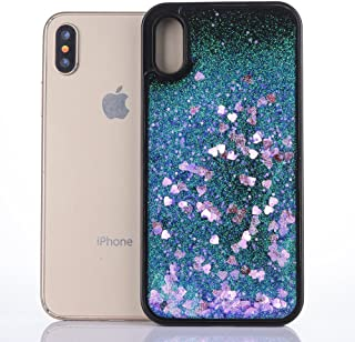 iPhone X case, Asstar Luxury Fashion Bling Flowing Liquid Floating Sparkle Glitter TPU Bumper Shockproof Protective Case for Apple iPhone X 2017 Release (Purple)