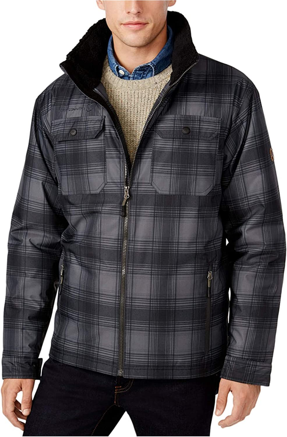 Free Country Mens Plaid Canvas Utility Parka Coat