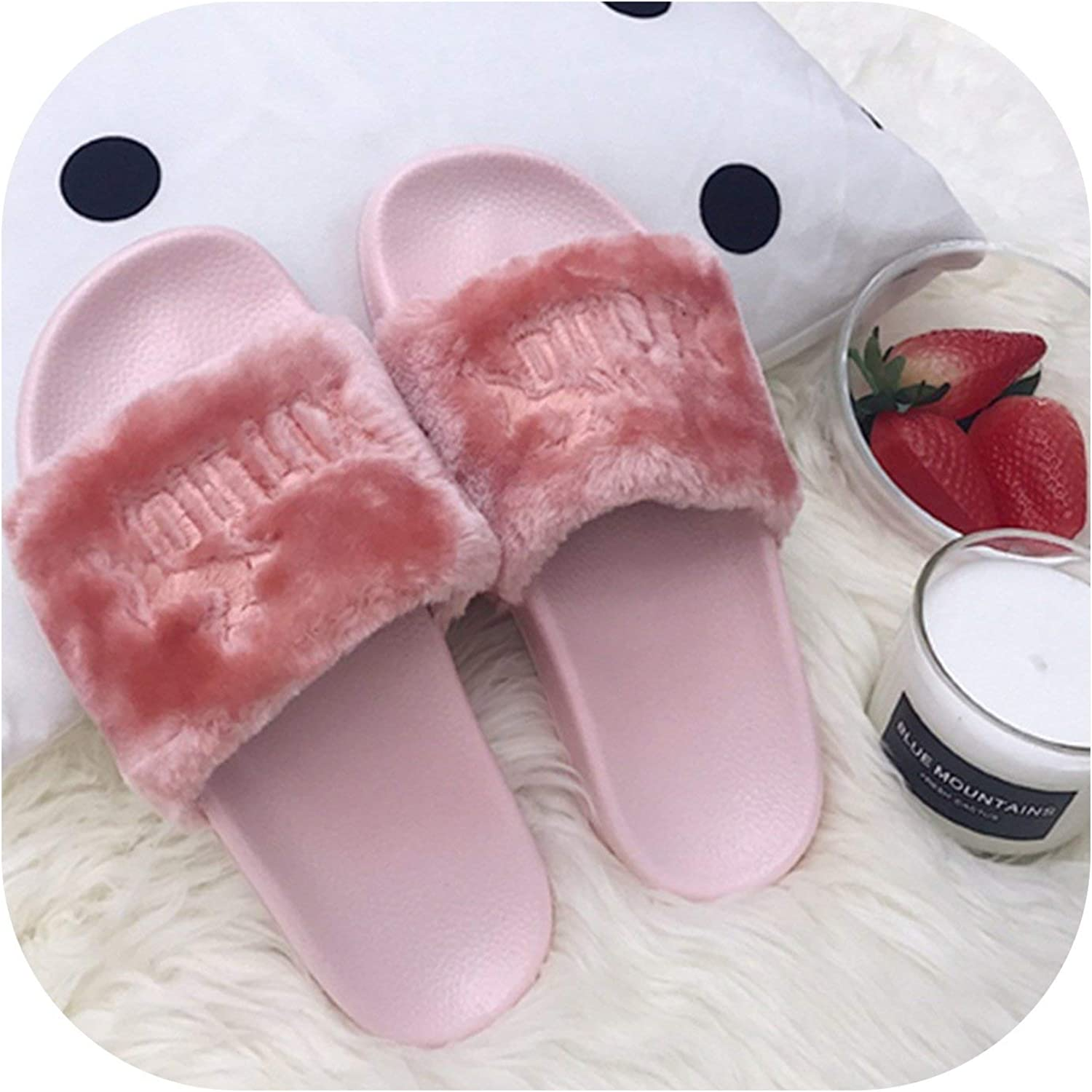 April With You Summer Solid Outdoor Slippers Fluffy Slippers Women Plush Letter shoes Warm Open Toe Solid Non-Slip