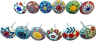 Mix Vintage Look Flower Ceramic knobs Door Handle Cabinet Drawere Cupboard Pull (Set of 12 Mix Knobs)