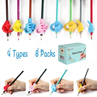 Pencil Grips,8 Packs(4 Types) Pencil Grips for Kids Handwriting,Ergonomic Writing Posture Correction Tool for Children,Kids,Preschoolers,Adults,Lefties or Righties