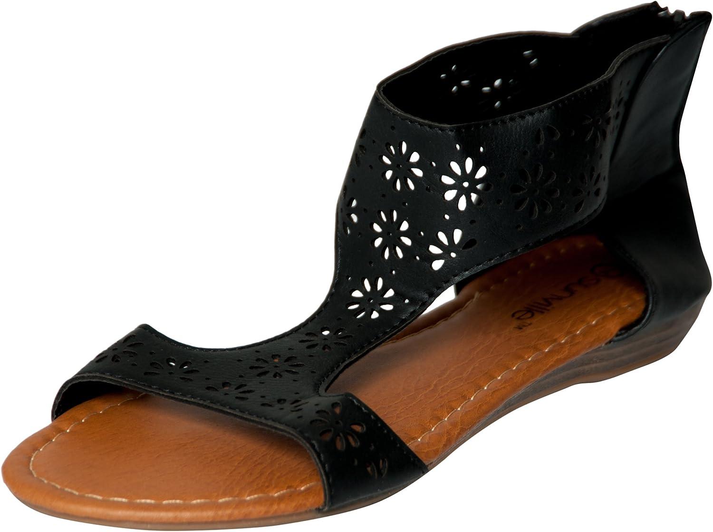 Womens Roman Gladiator Perforated Sandals Flats