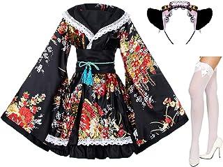Elibelle Japanese Anime Lolita Peony Sakura Flower Printing Kimono Costumes Fancy Dress Maid cat Headband Socks Set(DHF00...