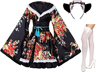 Japanese Anime Lolita Peony Sakura Flower Printing Kimono Costumes Fancy Dress Maid cat Headband Socks Set(DHF005) Black